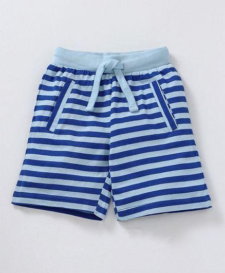Kiddopanti Striped Drawstring Waist Shorts - Light Blue & Royal Blue