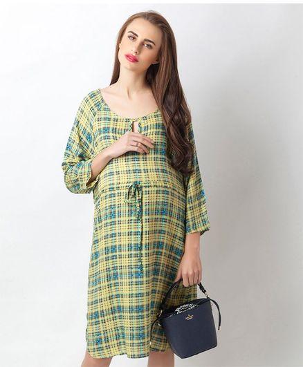 Blush 9 Checkered Maternity And Nursing Dress  - Blue & Yellow