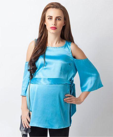 Blush 9 Solid Cold Shoulder Maternity Top - Sky Blue