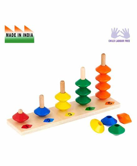 Eduedge Wooden Numerical Bead Stacker - Multi Color