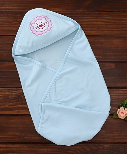 Simply Hooded Wrapper Lion Embroidery - Blue