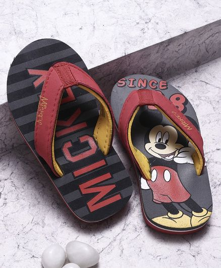 Disney Mickey Mouse And Friends Flip Flops  - Grey Black