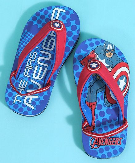 efc102825b57 Buy Marvel Captain America Flip Flops Blue   Red for Boys (2-2 ...