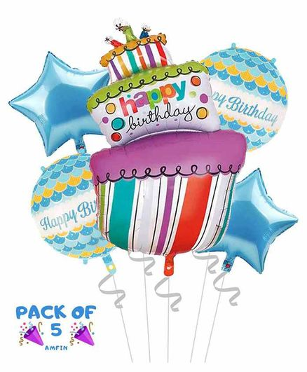 Amfin Happy Birthday Foil Balloons Set Of 5