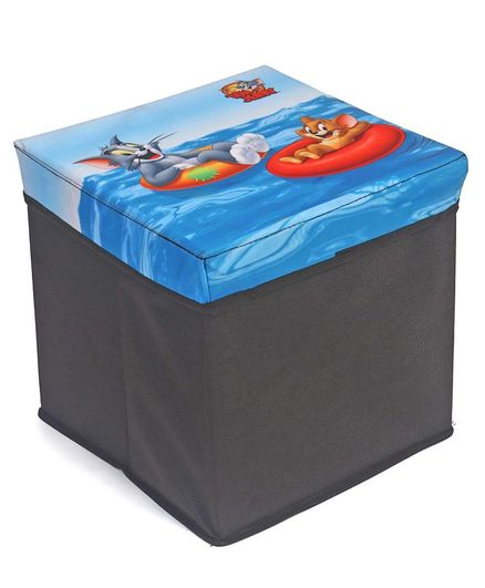 Tom & Jerry Storage Box Cum Stool Medium - Black & Blue