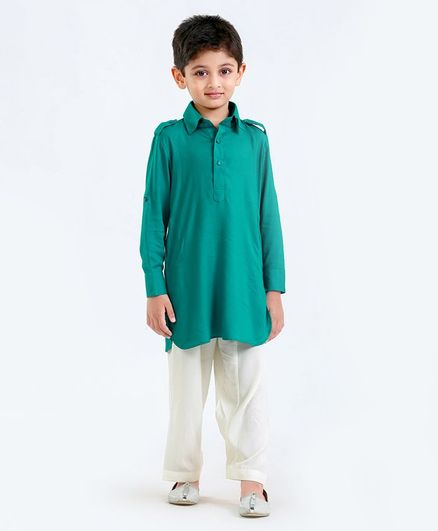 Little Aryan Full Sleeves Kurta Pajama Set - Green & White