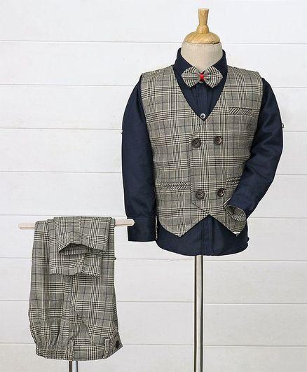 Enfance Shirt With Bow & Checkered Waistcoat Bottom Set - Grey