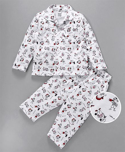Teddy Full Sleeves Night Suit Pirate Print - White
