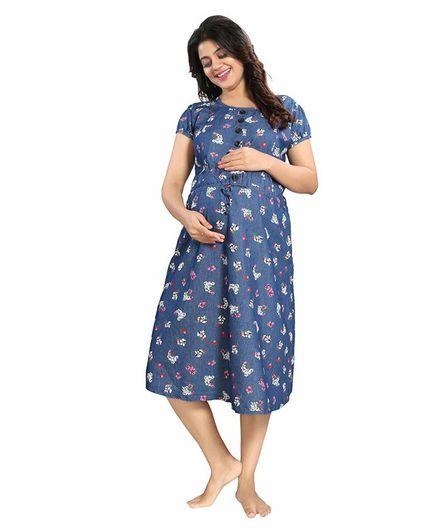 Mamma's Maternity Cotton-Soft Denim Floral Print Dress - Blue & White
