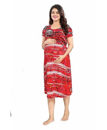 Mamma's Maternity Short Sleeves Rayon Dress Abstract Print - Red