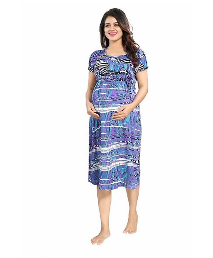 af3089f99549 Mammas Maternity Short Sleeves Rayon Dress Abstract Print Blue ...