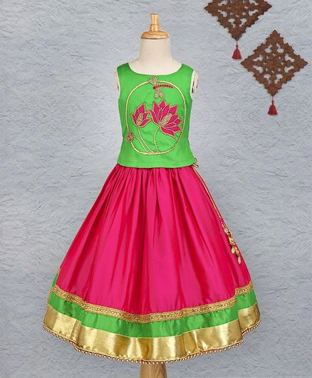 Li&Li Boutique Lotus Design Hand Work Lehenga & Choli Set - Green & Pink