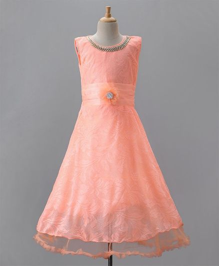 Buy Aarika Sleeveless Self Design Party Wear Gown Peach for Girls (3 ...
