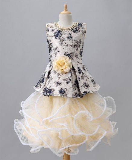 Aarika Rose Print & Flower Applique Gown - Blue