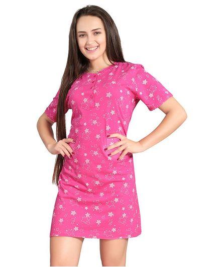 Piu Half Sleeves Maternity Nighty Star Print - Pink