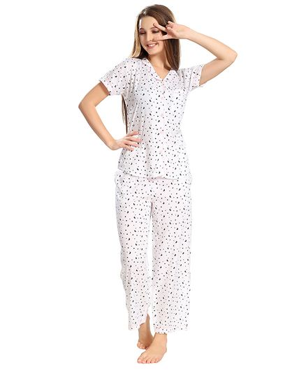 3f94723306 Piu Front Open Moon Print Sleepwear White Online in India