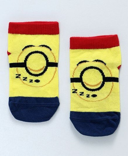 Mustang Ankle Length Socks Sleeping Minions Design - Yellow Red