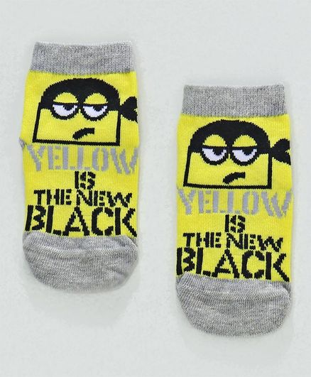 Mustang Ankle Length Socks Minions Design - Yellow Grey