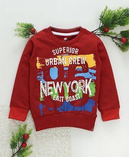 Olio Kids Winter Wear Full Sleeves Tee New York Print - Red