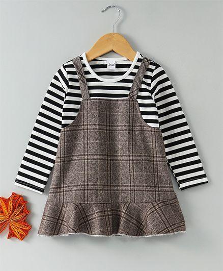 Menga Wa Striped & Checks Dress - Black & Brown