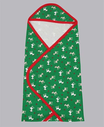 Grandma's Hooded Towel Reindeer Print - Green