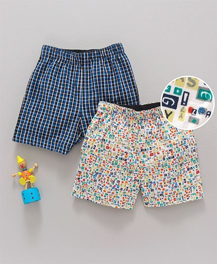 Babyhug Cotton Woven  Checked & Printed Boxer Shorts Pack of 2 - Blue Multicolor