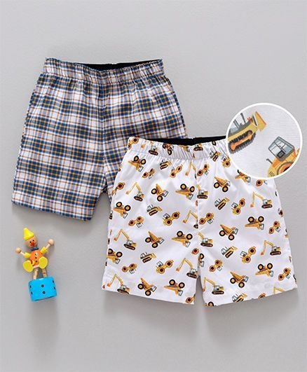 Babyhug Cotton Woven Checks & Printed Boxer Shorts Pack of 2 - White Blue