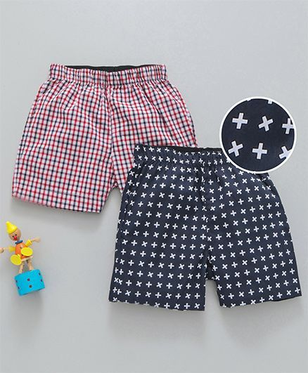 Babyhug Cotton Woven Checked & Printed Boxer Shorts Pack of 2 - Red Navy