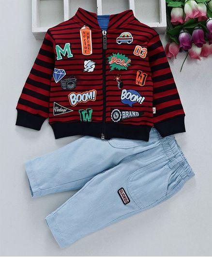 Olio Kids Full Sleeves Winter Wear Jacket & Corduroy Pant - Red