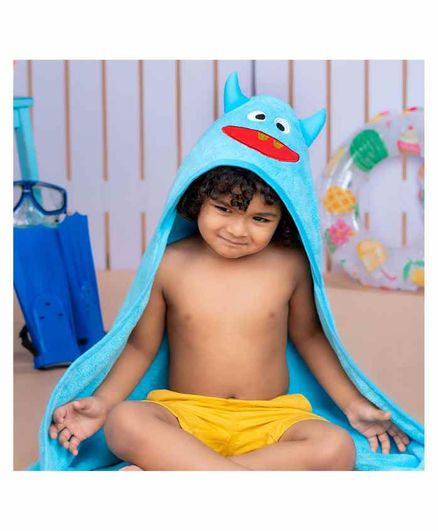 Rabitat Kids Hooded Towel Monster Design - Blue