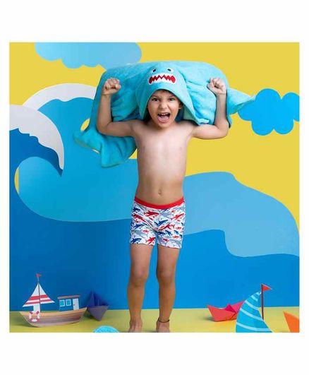 Rabitat Kids Hooded Towel Shark Design - Blue