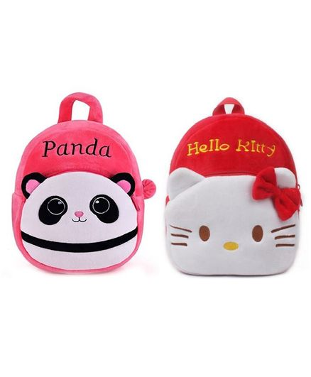 740cdaba7b5 Frantic Velvet Nursery Hungry Pink Panda and Red Hello Kitty Bag 2 Pack -  Height 11 inches