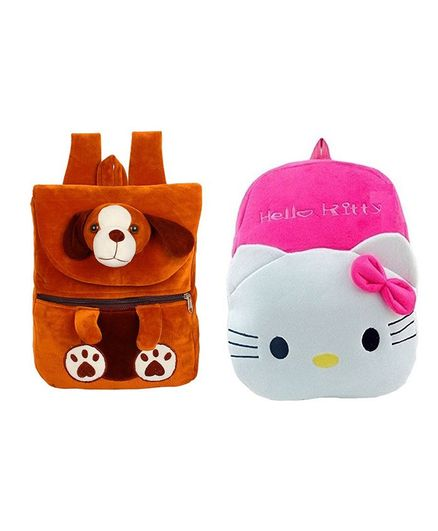 Frantic Velvet HKT Brown Puppy   Pink Hello Kitty Nursery Bags Pack of 2 -  Height 14 Inches 93fd0ec594