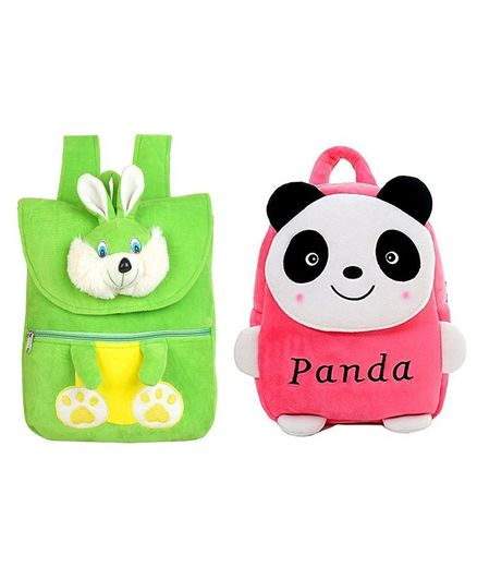 Frantic Velvet HKT Green Rabbit   Pink Panda Nursery Bags Pack of 2 -  Height 14 Inches 0f422f0fa7