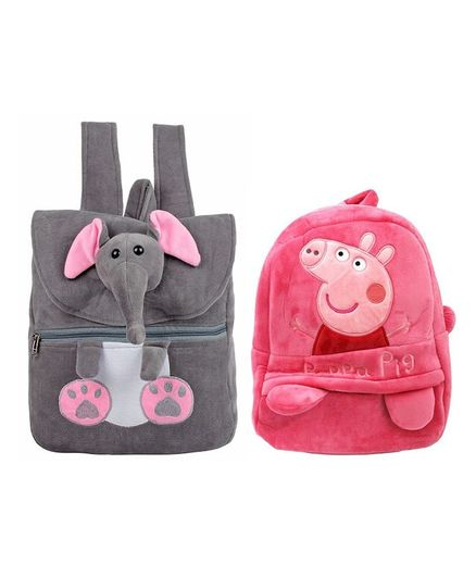 Frantic Velvet HKT Grey Elephant   Pink Peppa Nursery Bags Pack of 2 -  Height 14 Inches ad1635cdb6