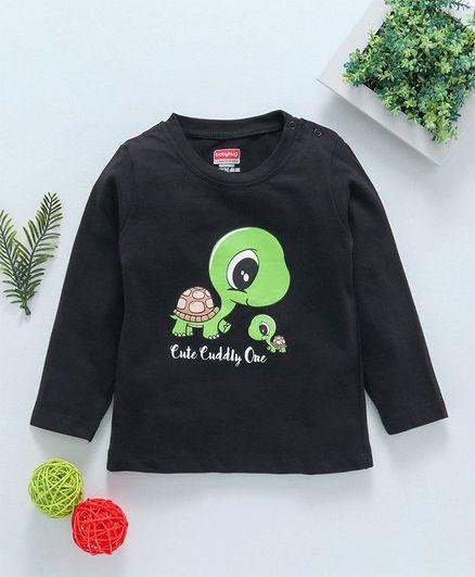 Babyhug Full Sleeves Tee Turtle Print - Black