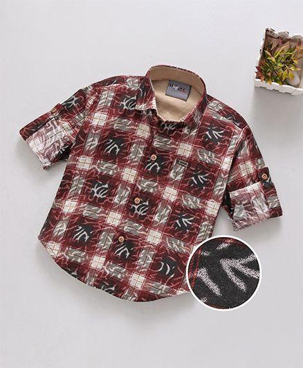 Dapper Dudes Checks Printed Full Sleeves Shirt - Maroon