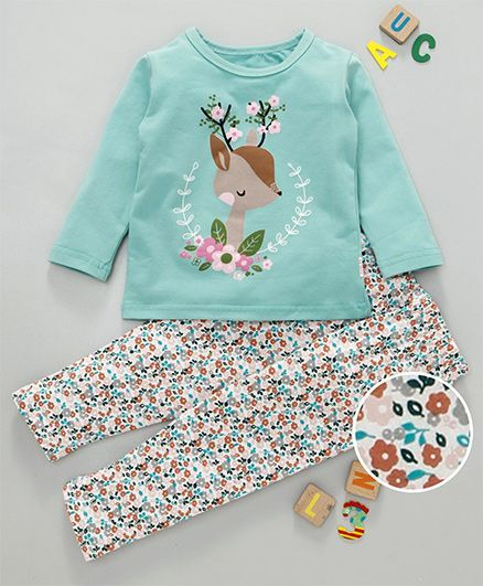 Kookie Kids Deer Print Night Suit - Sea Green