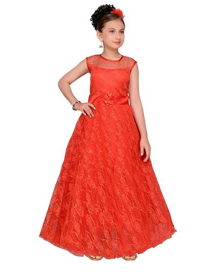 Buy Aarika Self Design Party Wear Gown Red for Girls (5-6 Years ...