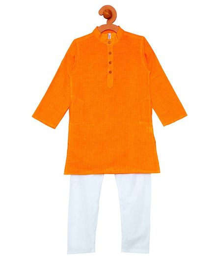 Campana Solid Kurta & Pyjama Set - Orange