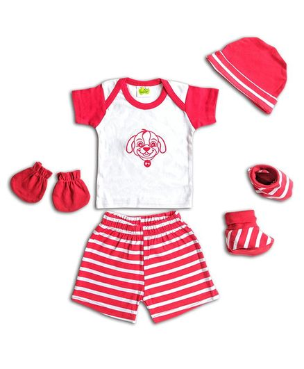 Beebop Clothing Gift Set Striped & Embroidered Pack of 5 - Red