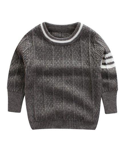Pre Order - Awabox Rib Knit Full Sleeves Sweater - Grey