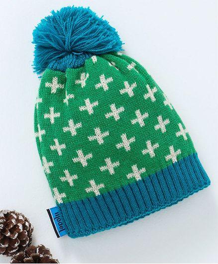 Model Woollen Cap - Green & Blue