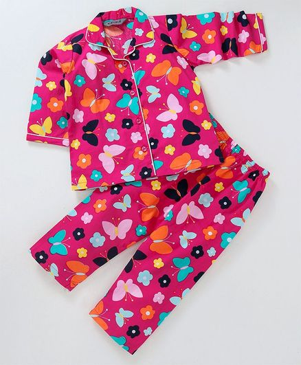Enfance Core Butterfly & Flower Printed Night Suit Set - Pink