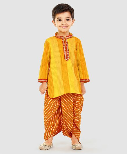 Exclusive From Jaipur Full Sleeves Kurta And Dhoti Zari Detailing - Yellow Orange
