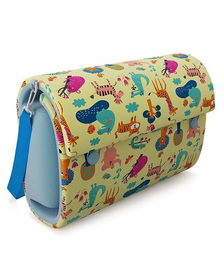 Fancy Fluff Bed in Bag With Changing Mat Noah's Ark Theme - Light Yellow