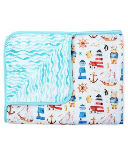 Fancy Fluff Muslin Blanket Nautical Design - Blue