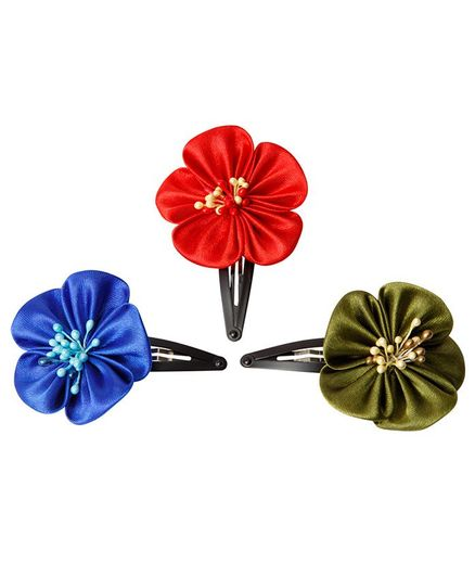 Keira's Pretties 3 Blossom Flower Clips - Red Blue & Olive