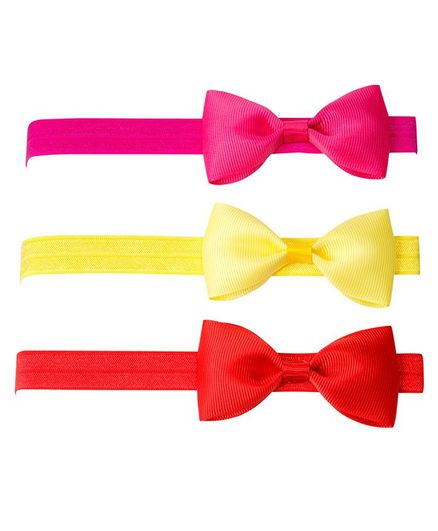 Keira's Pretties Pack Of 3 Stylish Bow Applique Headbands - Multi Color