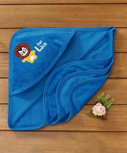 Simply Hooded Towel Lion Print - Blue